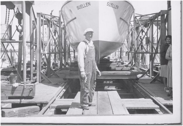 Builder Louis A. Hascall at the launch in 1951